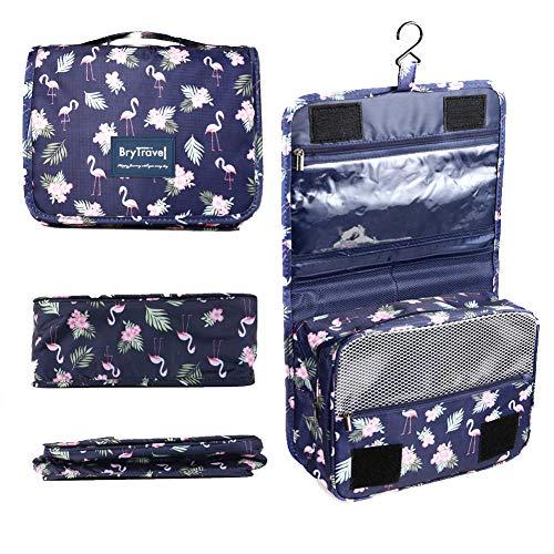 BryTravel Neceser para Colgar Viaje Bolsa de tocador, Upgraded Bolso Cosmético Impermeable de Gran Capacidad, multifunción Bolsa de Maquillaje Cosméticos Lavado de Viaje Bolsa (Azul Flamingo)