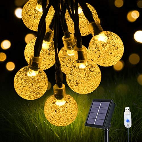 flintronic Cadena de Luces Led Solar, Guirnaldas Luces Exterior USB de Carga, 60 LEDS/11M IP65 Impermeable 8 Modos Guirnalda Luminosas, LED Bola de Cristal Luces Decoracion para Jardín, Casa, Bodas