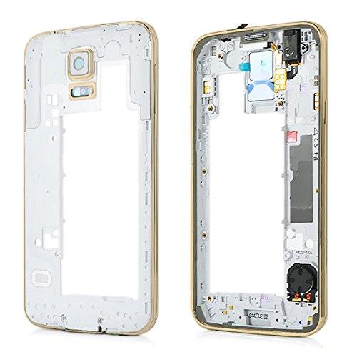 Premium Mittelrahmen Gehäuse (Gold) für Samsung Galaxy S5 G900F i9600 - Middle Bezel Frame Housing Cover - Gold NEU