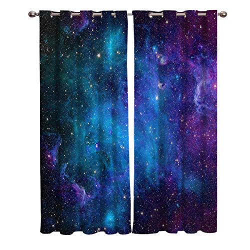 Curtains 39 inch Length for Living Room Bedroom, Blackout Room Darkening Galaxy Stars Universe Fantasy Planet Nebula Starry Sky Window Curtain Thermal Insulated with Grommet Drapes, 2 Panels