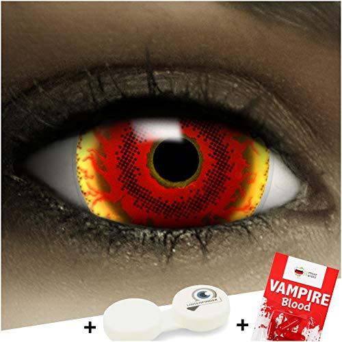 FXCONTACTS Farbige Kontaktlinsen Red Monster Maxi Sclera, in rot und gelb inklusive Kunstblut Kapseln und Kontaktlinsenbehälter, 1 Paar Linsen (2 Stück) weich, ohne Stärke