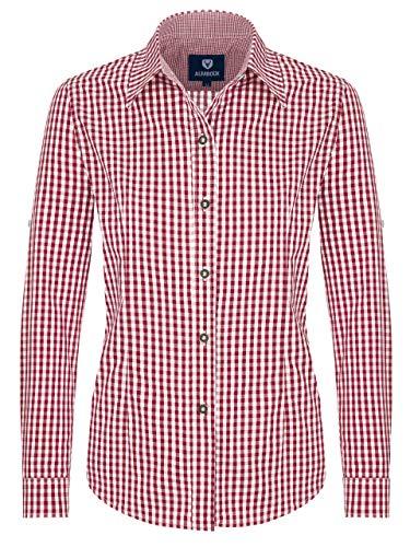 ALMBOCK Trachtenbluse Damen langarm - Karierte Bluse wein-rot kariert aus 100% Baumwolle - Festliche Blusen in Größe 34-46