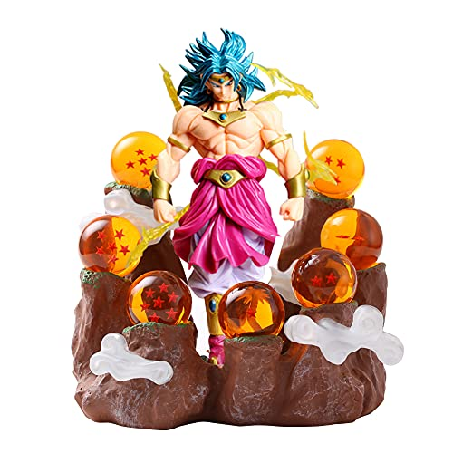 Estatua de Dragon Ball Z DBZ Super Saiyan Broly Figurines Luz de noche LED Impresión 3D PVC Shenron Resina Bola de cristal Lámparas de mesa Dibujos animados Anime Iluminación USB Power (Broly)