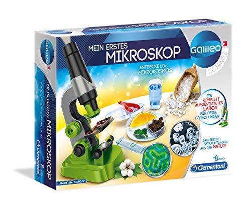 Clementoni 59120 Galileo Science – Mein erstes Mikroskop, Spielzeug für Kinder ab 8 Jahren, spannendes Biologie-Labor für kleine Forscher, Mikrobiologie für Schulkinder