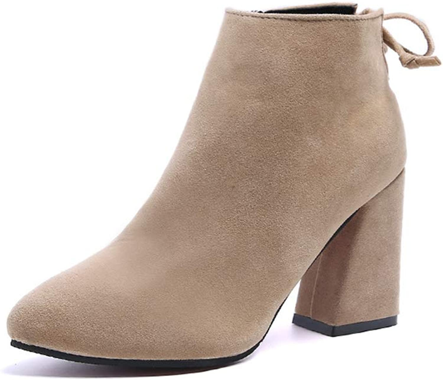 MIKA HOM Women's Suede Boots Side Zipper Rear Strap Boots Boots Bare Boots Thick Heel Boots