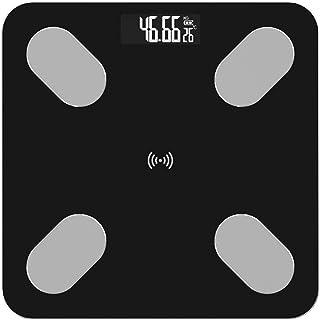 UYZ Báscula de Grasa Corporal Profesional Floor Science Báscula de Peso Digital electrónica Inteligente Báscula de Piso doméstica Aplicación de Bluetooth Duradera (Color: Negro)
