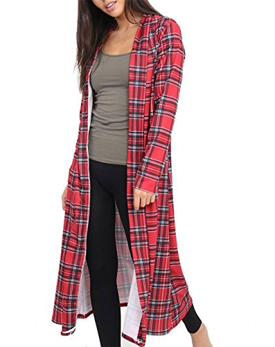 Rimi Hanger Women Long Sleeve Open Front Printed Maxi Cardigan Ladies Crepe Long Duster Coat Red Tartan Print XX Large