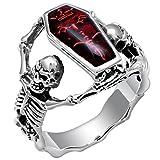 PAMTIER Men's Stainless Steel Skull Ring Gothic Vampire Skeleton Bloody Red Enamel Coffin Bike Band Silver Size 8