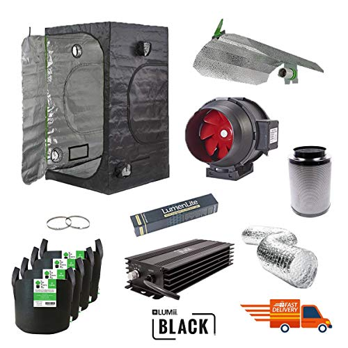 1.2 x 1.2 x 2m Grow Tent Dimmable Dual Spectrum Light Kit Quite Running Carbon Filter Kit Silent /& Small Grow Tent Kit
