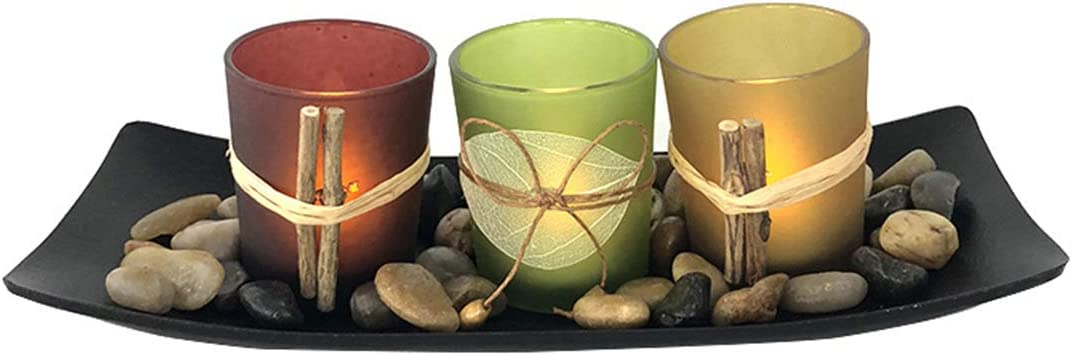 SH-RuiDu Glass Candle Holder Set Stones Ranking TOP13 for Ornamental with Tray Superior