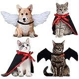 4 Piezas Set de Disfraces de Mascota de Halloween Ala de Ángel Ala de Murciélago de Cosplay, 2 Capas de Vampiro Accesorio Ropa Divertido de Perro Gato Mascota de Fiesta (Blanco, Negro)