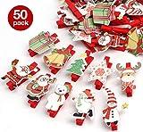 50er Weihnachten Klammern Weihnachtsdeko Holzklammern für Fotos Absofine Mini Klammern mit süßen...