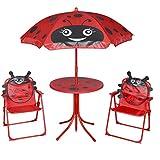 vidaXL Kinder Sitzgruppe Sitzgarnitur Gartenmöbel Tisch 2 Stühle Sonnenschirm