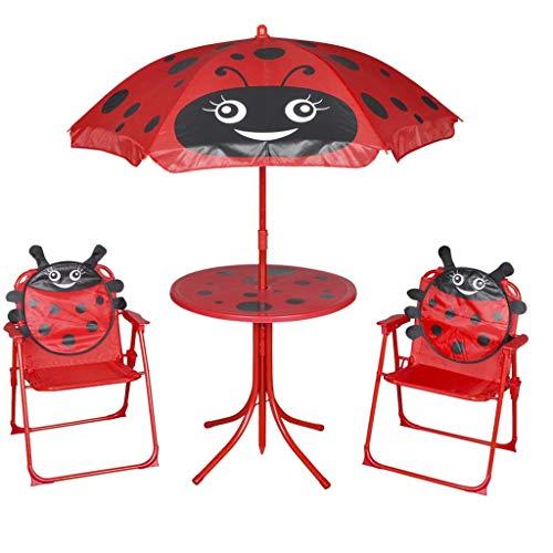 vidaXL 4 Piece Kids' Garden Furniture Set Red Outdoor Table Chair Umbrella