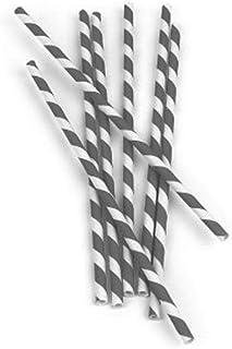 Kikkerland, Gray and White Biodegradable Paper Straws, Striped, Box of 144
