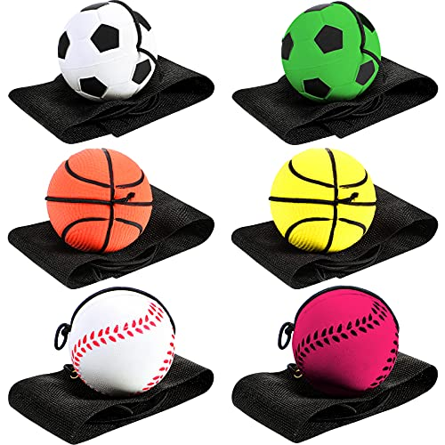 6 Pieces Wrist Return Ball Sports Wrist Ball Includes Basketball, Baseball and Football On A String Rubber Rebound Ball Wristband Toy for Children Kids Party Favor, Exercise or Play (Assorted Color)