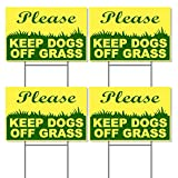 4 Stay Off Grass Signs with Stake - Keep Off Grass Sign - Keep Dogs Off Sign - Please Keep Off Grass Sign - Dog Off Lawn - Keep Off Sign - 6'X9' Plastic Coroplast Signs with Stakes, Yellow