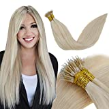 LaaVoo 22 Pulgadas 1g/s 50g/paquete Nano Beads Pelo Liso y Sedoso 100% Real Human Hair Color Sólido #24 Rubio Dorado Remy Fusión Fría Nano Ring Extensiones de Cabello para Mujeres