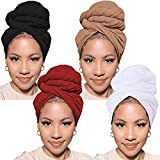 PWEOUKE 4 Pack Stretch Turban Knit Bohemian Head Wrap Scarf African Headwraps for Women Solid Color Urban Long Breathable Head Band Tie