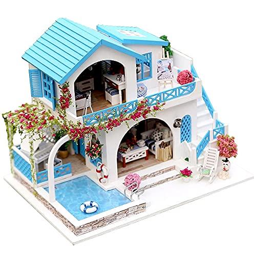 moin moin 1/24 ドールハウス ミニチュア 手作りキット セット 英語説明書 海辺 の プール のある 青い屋根 の 家 海 バラ ローズ ストライプ 犬 | LEDライト + アクリルケース 2108DH281