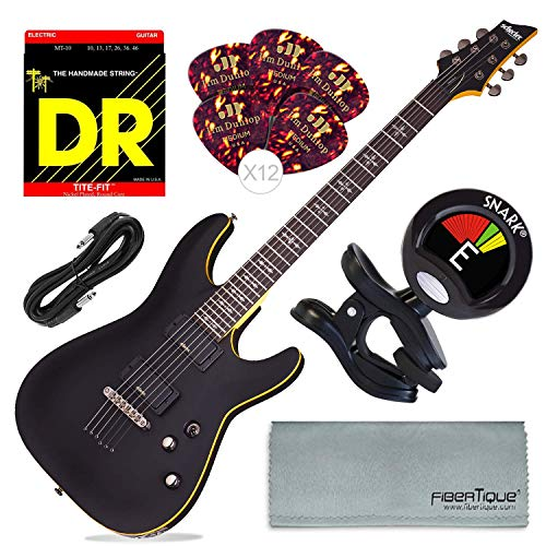 Schecter 3660 Demon-6 Electric Guitar (Aged Black Satin) + Tuner, and Basic Accessory Bundle