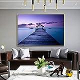 ganlanshu Muy Hermosa decoración del hogar del Puente de la Sala de Estar Moderna del Cartel del Arte de Madera de la Vista al mar,Pintura sin Marco,50X75cm