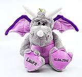CreaDesign, Kuscheltier Drache personalisierbar mit (Wunsch) Namen, 33cm, Stofftier, Plüschtier, Mädchen Jungen, grau rosa