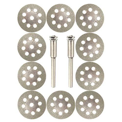 Kreisförmige Holz Gehrungssäge Klinge 22mm Diamant beschichtete Sägeblatt 9 Holes-Trennscheiben mit 2 Stück Mandrel gepasst for Dremel 10pcs