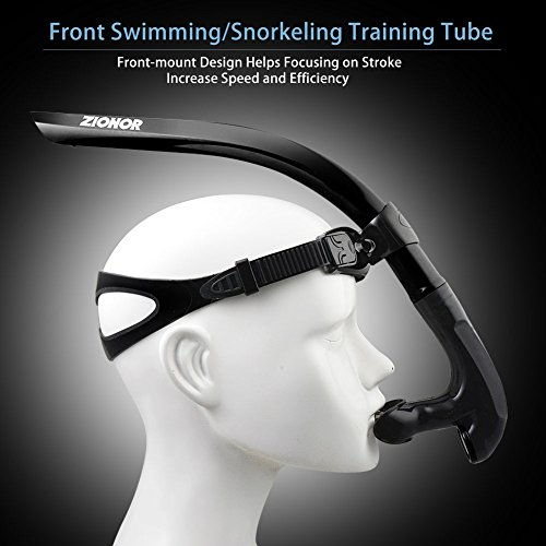 ZIONOR T2 Snorkel Lap Swimming Swimmer Training Diving Snorkeling Comfortable Mouthpiece One-Way Purge Valve for Pool Open Water - Black (No Head Strap)