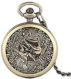 DUEJJH Co.,ltd Halskette Taschenuhr Bronze Retro Hollow Magpie Design Fob Mechanische Taschenuhr...