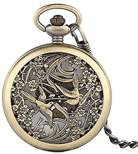 BEISUOSIBYW Co.,Ltd Collar Reloj de Bolsillo de Bronce Diseño Retro de Bolsillo Percha de Bolsillo mecánica Reloj de Bolsillo Números Romanos Dial con Cadena Mejor Regalo Unisex Niños