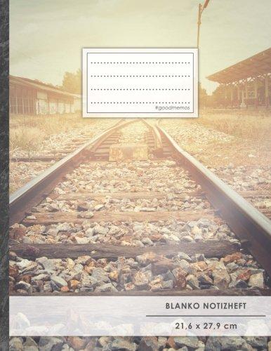 """Blanko Notizbuch • A4-Format, 100+ Seiten, Soft Cover, Register, """"Schienen"""" • Original #GoodMemos Blank Notebook • Perfekt als Zeichenbuch, Skizzenbuch, Sketchbook, Leeres Malbuch"""