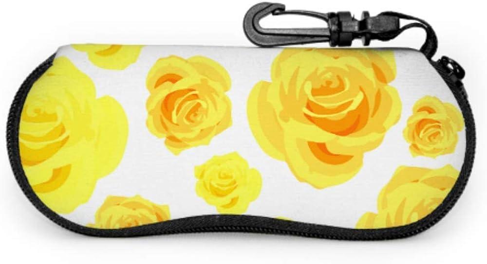 Painted Yellow Floral Rose Eye-glass Case Soft Case For Glasses Light Portable Neoprene Zipper Soft Case Men Eyeglass Case