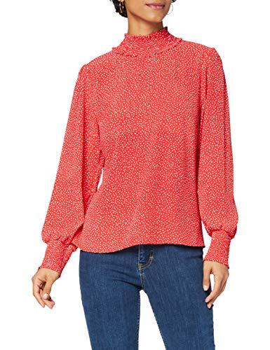 Amazon-Marke: find. Damen Bluse mit Stehkragen und Punktemuster, Rot (Red), 38, Label: M