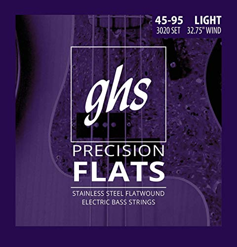 GHS PRECISION FLATS Flatwound Saitensatz für E-Bass - 3020 - Short Scale - 045/095