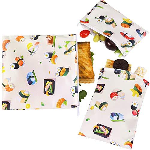 PHOGARY 3 Pezzi Sacchetti riutilizzabili per panini e Snack, ecologici, Lavabili in lavastoviglie, Set da in 3 Diverse Dimensioni (Sushi)