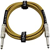 GLS Audio 6 Foot Guitar Instrument Cable - 1/4 Inch TS to 1/4 Inch TS 6-FT Brown Yellow Tweed Cloth Jacket - 6 Feet Pro Cord 6' Phono 6.3mm - Single