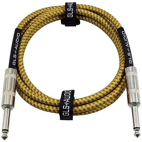 GLS Audio 6 Foot Guitar Instrument Cable - 1/4 Inch TS to 1/4 Inch TS 6-FT Brown Yellow Tweed Cloth Jacket - 6 Feet Pro Cord 6