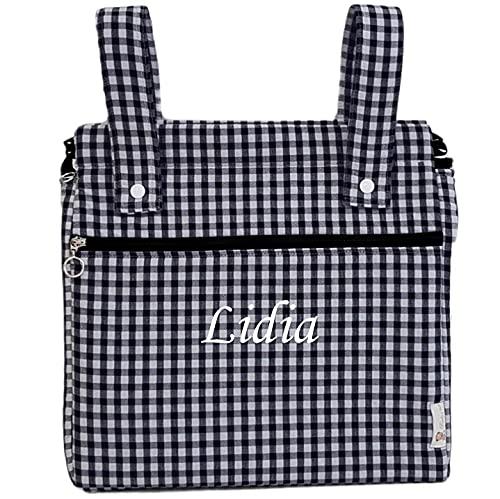 Bolso panera o talega para carrito de bebé personalizado con el nombre bordado. Vichy (Marino)