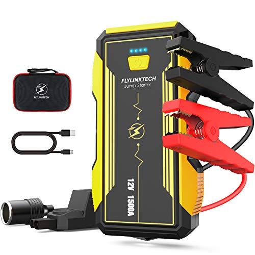FLYLINKTECH Starthilfe Powerbank 1500A 16000 mAh Auto Starthilfe Für (8.0L Benzin oder 6,0L Dieselmotor) Starthilfegerät mit QC.30 Ausgang, Auto Notfallhammer