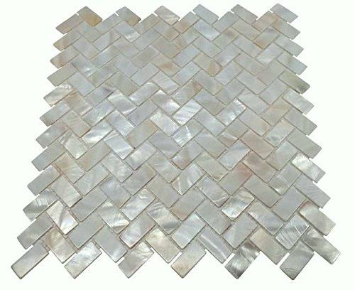 Mosaikfliese aus echtem Perlmutt, Fischgrätenmuster, für Küche, Badezimmer, Spas, Pools (komplettes Blatt)