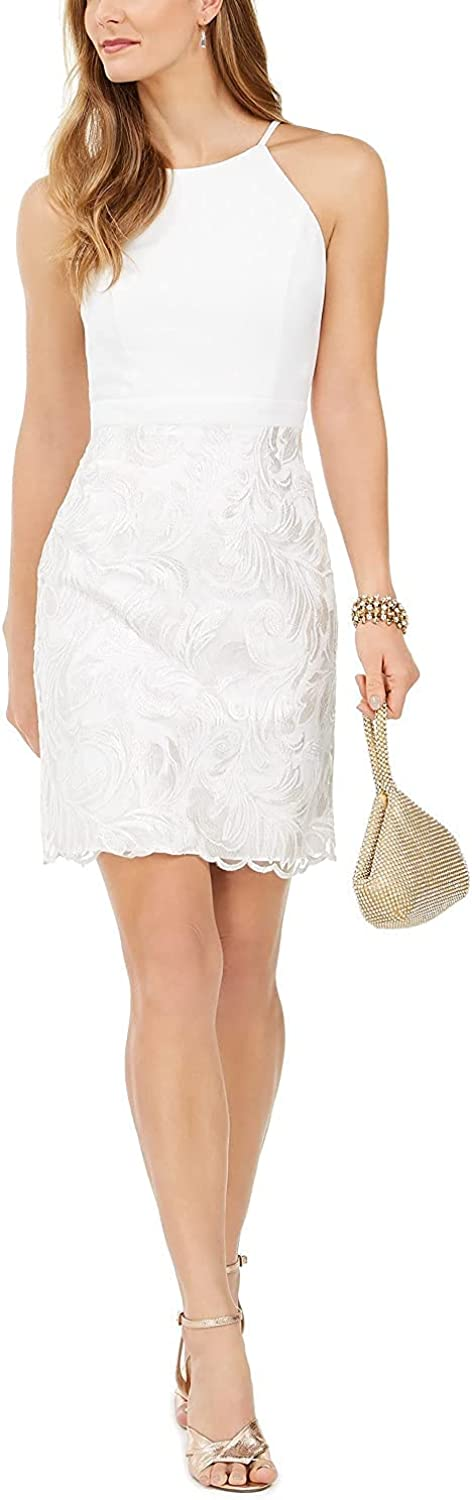 Vince Camuto Womens White Sequined Spaghetti Strap Jewel Neck Short Sheath Cocktail Dress Size 6