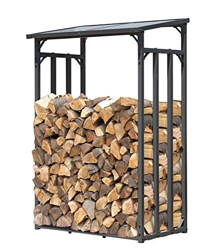 QUICK STAR Metall Kaminholzregal Anthrazit 130 x 70 x 185 cm Garten Kaminholzunterstand 1,6 m³ / gut 2 SRM Kaminholzlager Stapelhilfe Aussen