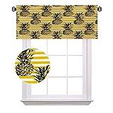 Grunge - Cortinas de media ventana, diseño retro a rayas con figuras de pino vintage hippie, adecuado para pequeñas ventanas en cocinas y baños, ancho 122 x largo 30 cm, negro y amarillo tierra