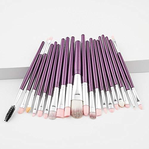 JIAOSHUAIYU Pinceau de maquillage Pinceau de maquillage Set Fard à paupières Fondation Liquide Eyeliner Cils Crayon de maquillage des lèvres Cosmetic Beauty Maquillage Brush Tool Set 20PCS-Purple