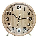 LEENFOON Reloj de Pared de Madera de Cuarzo de 25 cm, Moderno, silencioso, no Hace tictac, Reloj de Pared de Madera, Reloj de Mesa para Sala de Estar, Dormitorio, Oficina, Cocina