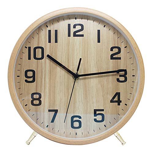 ALEENFOON 10 Zoll Holz Uhr Modern Leise Wanduhren Tischuhr für Wohnzimmer Küche Ohne Tickgeräusche Innenuhr Nicht Tickende Wanduhren Hängende Uhr (Hölzern)