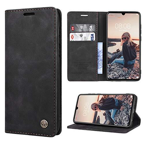 RuiPower Kompatibel für Huawei P30 Hülle Premium Leder PU Handyhülle Flip Hülle Wallet Lederhülle Klapphülle Klappbar Silikon Bumper Schutzhülle für Huawei P30 Tasche - Schwarz