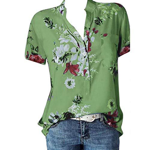 TOPKEAL - Camiseta de Manga Corta para Mujer con Estampado de Bolsillo, Elegante, para Primavera, Temporada 2019 Verde XL
