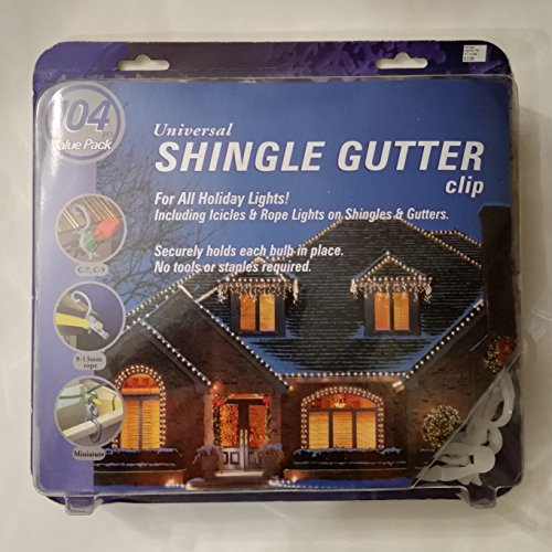 Universal Holiday Light Clip 100CT Shingle or Gutter (100 Pack) - Gerson 80003
